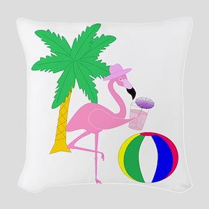 Pink Flamingo Tourist Woven Throw Pillow