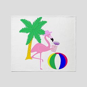 Pink Flamingo Tourist Throw Blanket