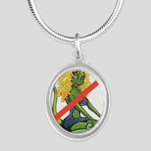 No Lot Lizards Silver Oval Necklace