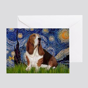 Starry Night & Basset Greeting Card