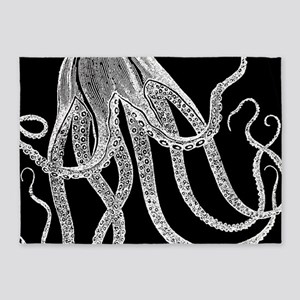 Vintage Octopus in Black and White Wood Block Prin
