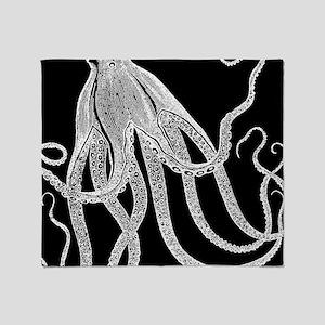 Vintage Octopus in Black and White Wood Block Prin