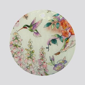 Hummingbirds and Flowers Ornament (Round)