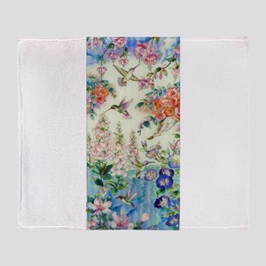 Hummingbirds and Flowers Throw Blanket