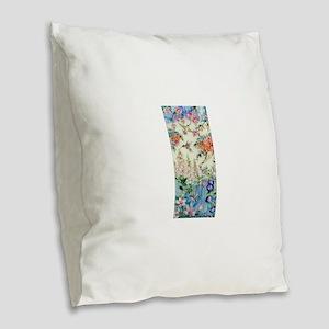 Hummingbirds and Flowers Burlap Throw Pillow