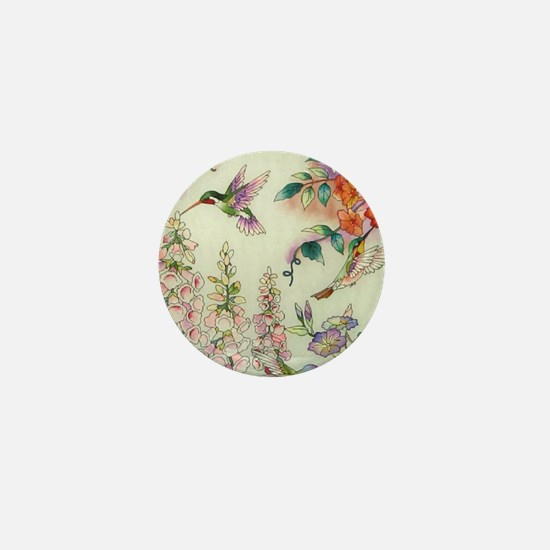 Hummingbirds and Flowers Mini Button