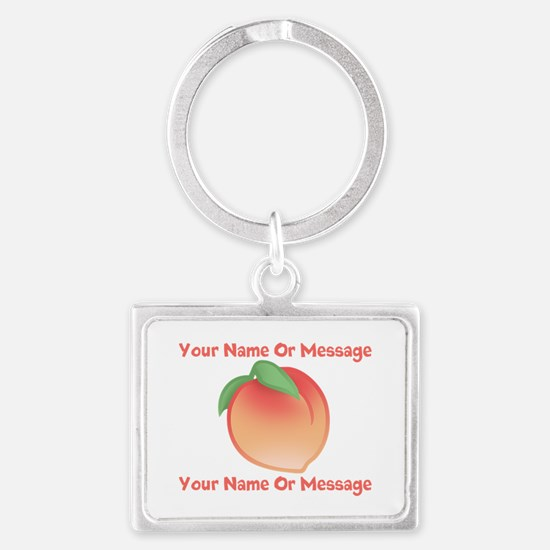 PERSONALIZED Peach Cute Landscape Keychain