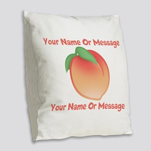 PERSONALIZED Peach Cute Burlap Throw Pillow