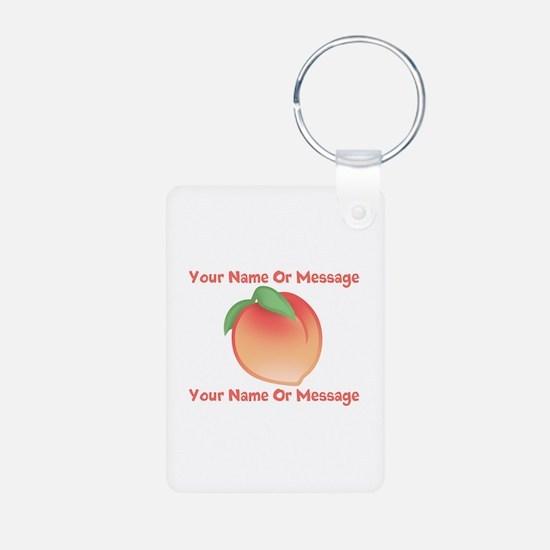 PERSONALIZED Peach Cute Aluminum Photo Keychain