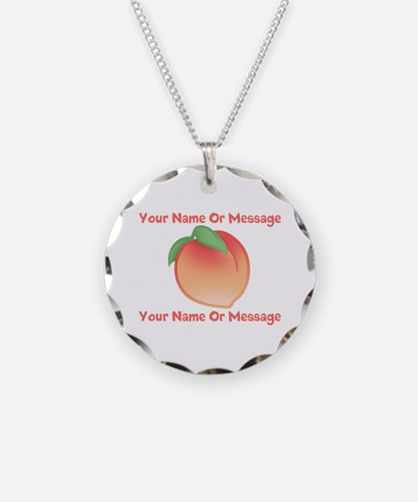 PERSONALIZED Peach Cute Necklace Circle Charm