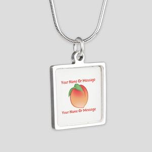 PERSONALIZED Peach Cute Silver Square Necklace