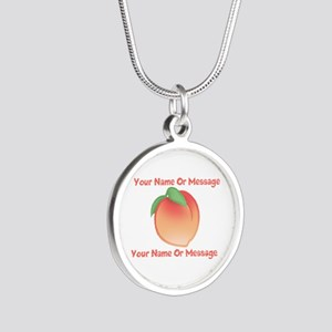 PERSONALIZED Peach Cute Silver Round Necklace