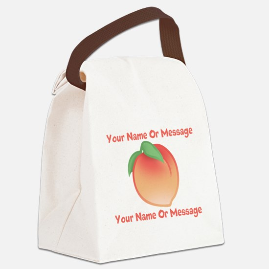 PERSONALIZED Peach Cute Canvas Lunch Bag