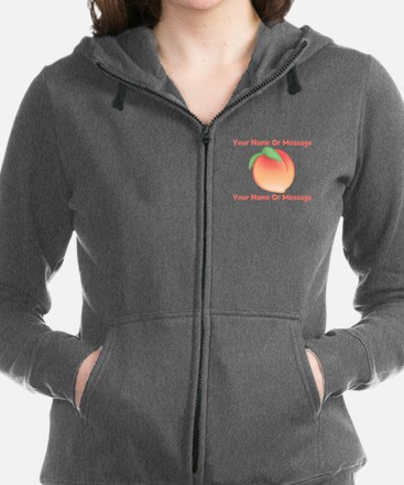 PERSONALIZED Peach Cute Women's Zip Hoodie