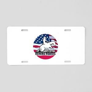 Reining Horses USA Flag Aluminum License Plate