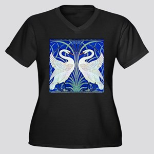 The Swans By Women's Plus Size V-Neck Dark T-Shirt