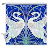 Art deco swan Shower Curtains
