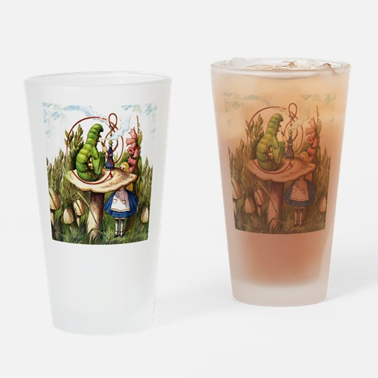 Alice Meets the Caterpillar in Wond Drinking Glass