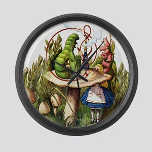 Alice Meets the Caterpillar in Wo Large Wall Clock