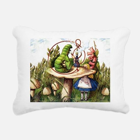 Alice Meets the Caterpil Rectangular Canvas Pillow