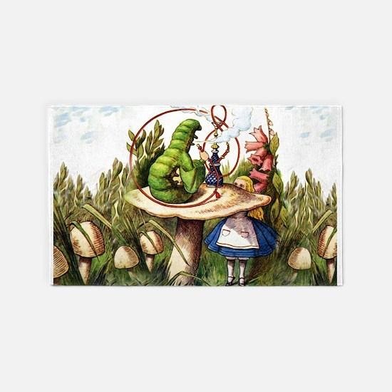Alice Meets the Caterpillar in Wonderland Area Rug