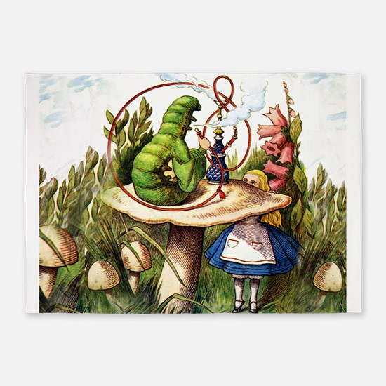 Alice Meets the Caterpillar in Wond 5'x7'Area Rug