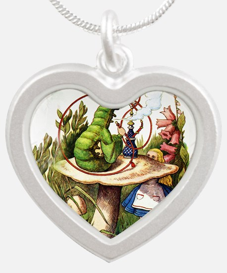 Alice Meets the Caterpillar Silver Heart Necklace