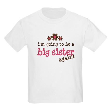 big sister pink brown flower Kids Light T-Shirt