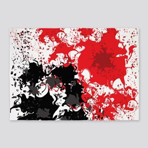 Red and black splatter 5'x7'Area Rug