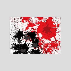 Red and black splatter 5'x7'Area Rug