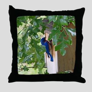 Birdbird at Birdhouse Throw Pillow