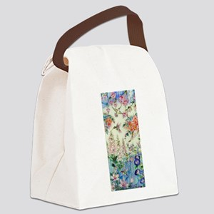 Hummingbirds and Flowers Canvas Lunch Bag