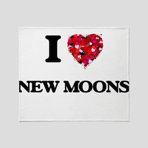 I Love New Moons Throw Blanket