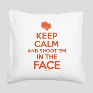Keep Calm Turkey Hunter Square Canvas Pillow
