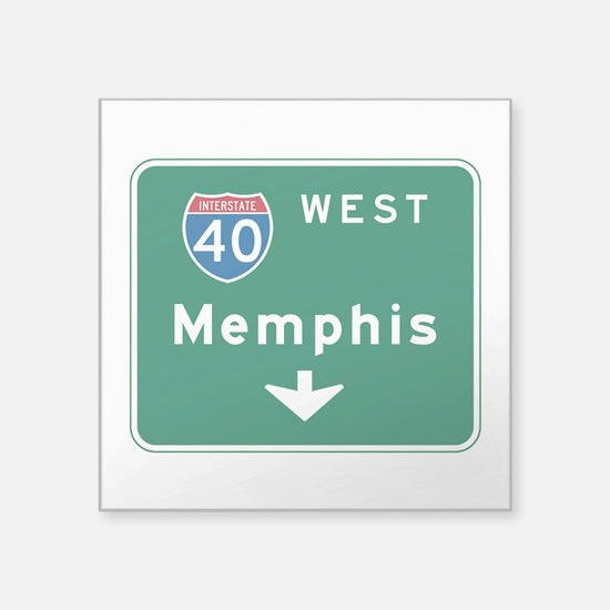 "Memphis, TN Highway Sign Square Sticker 3"" x 3"""