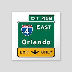 "Orlando, FL Highway Sign Square Sticker 3"" x 3"""