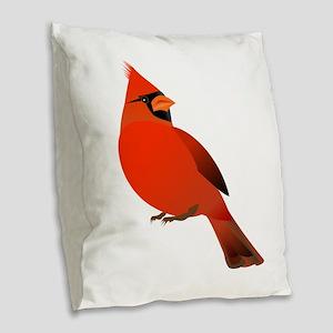 Red Cardinal Burlap Throw Pillow
