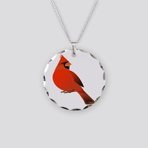 Red Cardinal Necklace Circle Charm