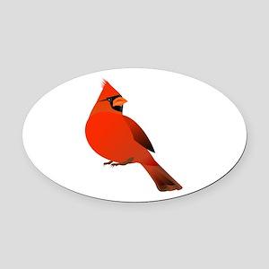 Red Cardinal Oval Car Magnet
