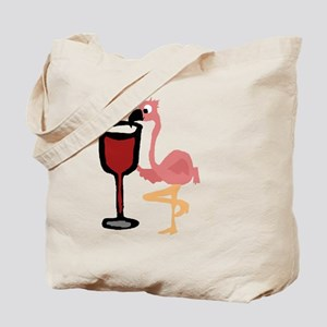 Pink Flamingo Drinking Wine Tote Bag
