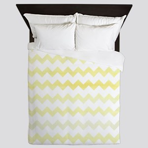Yellow Watercolor Chevron Zigzag Patte Queen Duvet