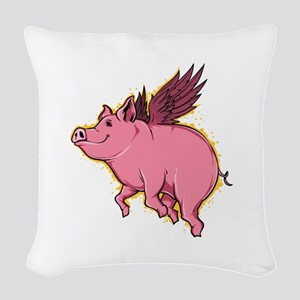 Flying Pig Woven Throw Pillow