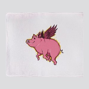 Flying Pig Throw Blanket