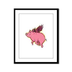 Flying Pig Framed Panel Print