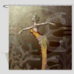 Waterdance Shower Curtain Brn