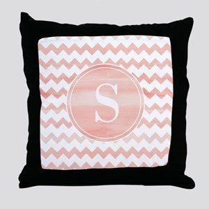 Pink Watercolor Chevron Zigzag Pattern Monogram Th
