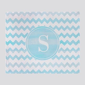 Blue Watercolor Chevron Zigzag Patte Throw Blanket
