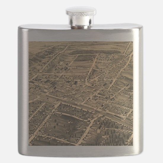 Vintage Pictorial Map of Durham NC (1891) Flask