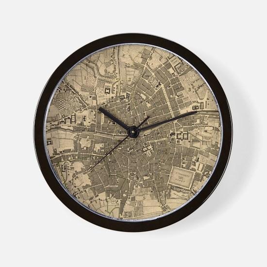Vintage Map of Dublin Ireland (1797) Wall Clock