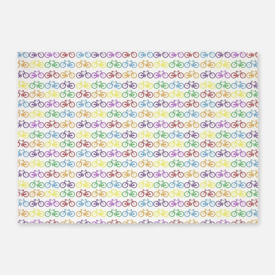 Colorful Bicycles 5'x7'Area Rug